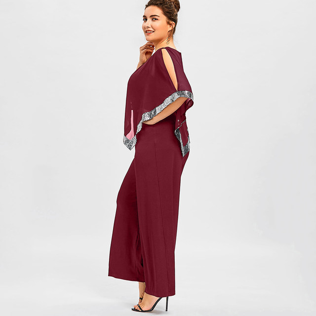 Gamiss Plus Size 5XL Sequined Overlay Wide Leg Jumpsuit Long Pants Romper  Office Ladies Work Wear Chiffon Party Overalls 2018 44814810543f