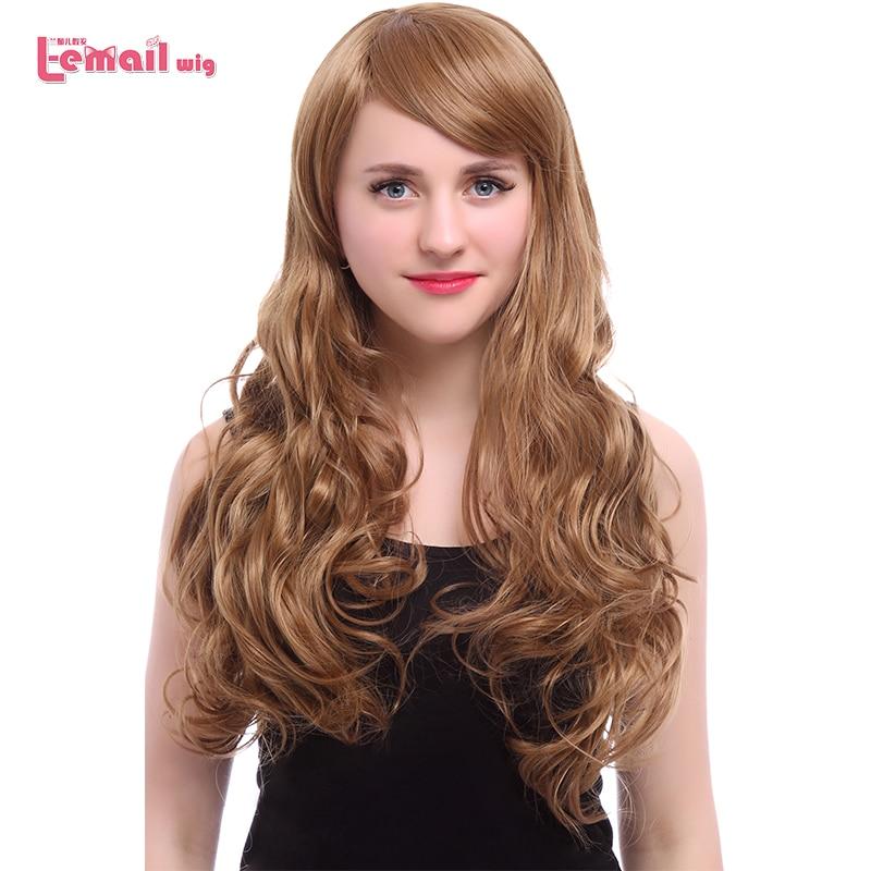 L-email wig Nykomst Women Wigs 5 Colors 60cm Långt Vågigt Värmebeständigt Syntetiskt Hår Perucas Cosplay Wig för Kvinnor