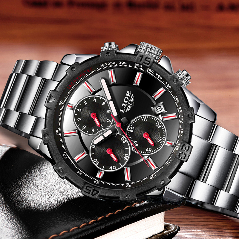 Top Brand LIGE Luxury Business Quartz Watch Stainless Steel Casual Sport Watch 1