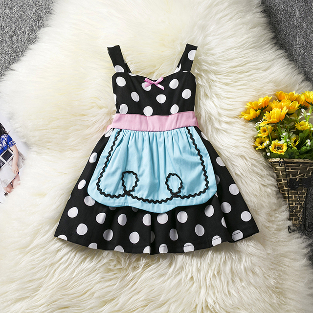 36175a1b817a Summer Dress For 1 2 3 4 5 Year Baby Girls Party Dress Tea Party Kid's Wear  Dots Dress Little Girl Apron Cosplay Costume Vestido