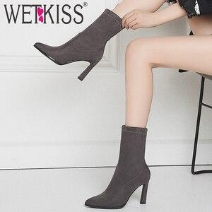 Image 5 - WETKISS ストレッチヒョウブーツ女性のセクシーなミッドふくらはぎブーツ冬の靴女性のハイヒールの靴レディースポインテッド弾性靴