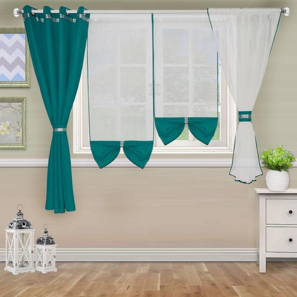 rideau a double pont moderne pour fenetre de chambre de balcon avec 4 pieces en tulle blanc et tissu lourd de couleur