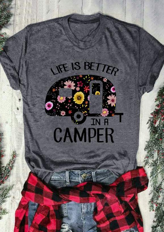 d059f07ede0 Summer Women T-Shirt Short Sleeve Life Is Better In A Camper Letter Print t