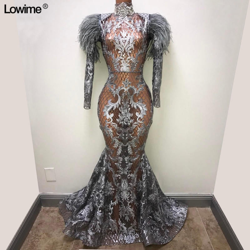 Illusion Real Photo Formal Long Evening Dresses Mermaid Long Sleeves Feathers Abendkleider 2019 Runaway Award Ceremony