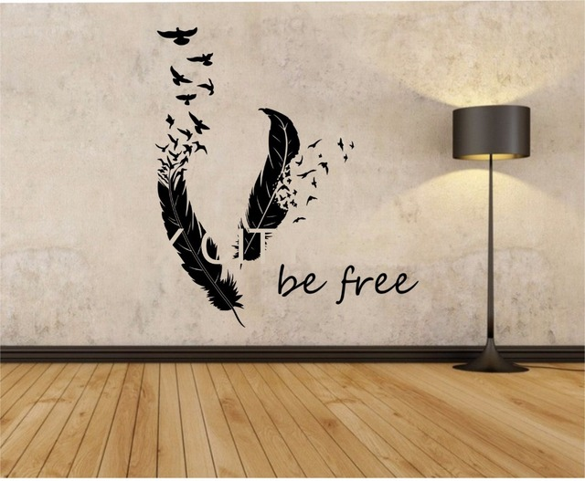 Feathers turning into birds wall decal namaste vinyl sticker art decor bedroom design mural home room