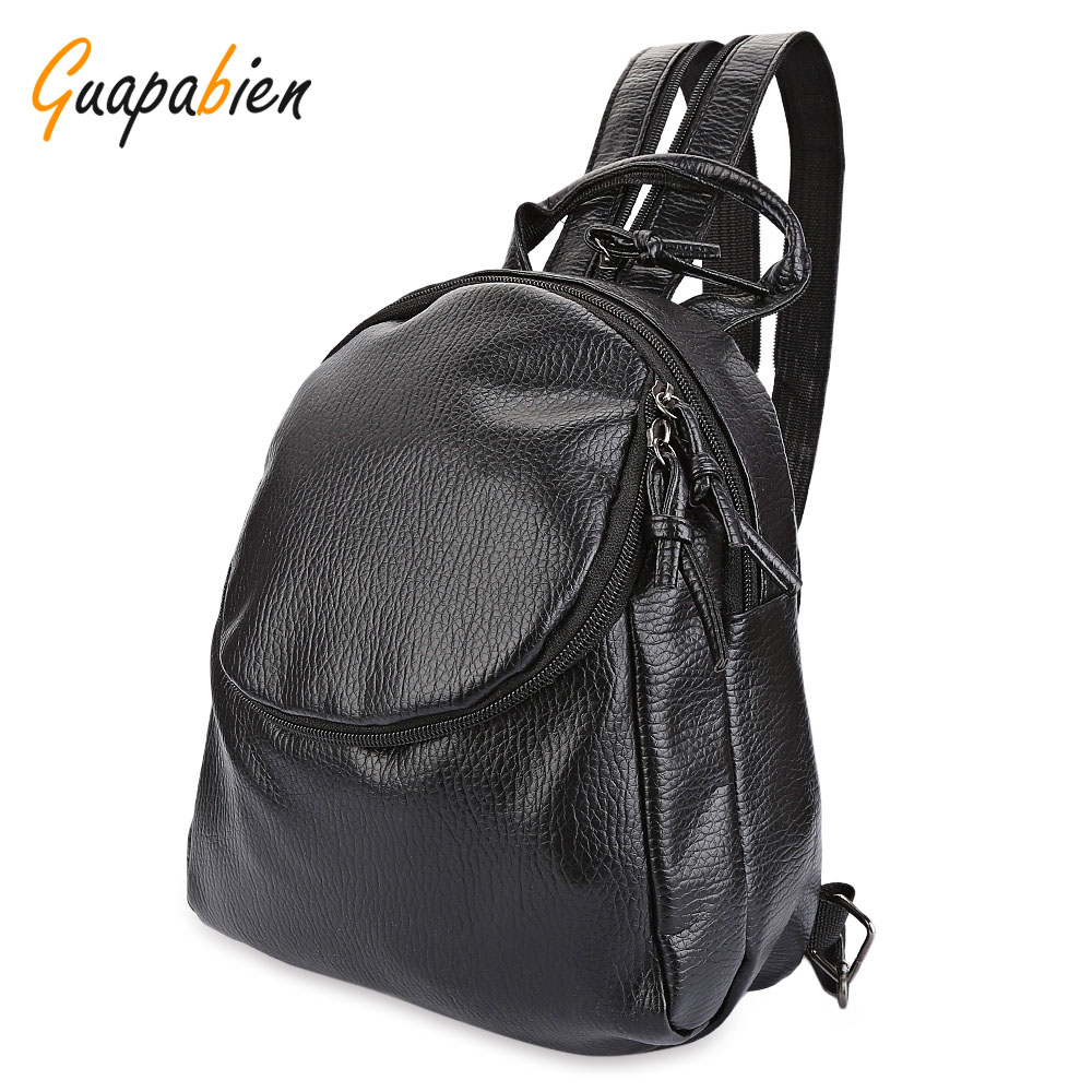 цены  Guapabien Black Waterproof Leather Backpack Girl Small Travel Backpacks Women College Schoolbag Rucksacks Teenage Bolsa Feminina