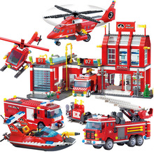 City Police Fire Station Truck Spray Water Gun Firemen Car Building Blocks Sets Bricks Model Kids Toys Compatible City недорого
