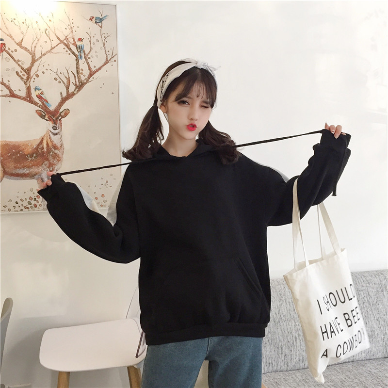 Casual Women Chic Pocket Hoodies Female Fashion Designed Harajuku Womens Long Loose Hooded Sweatshirts Females Trendy Korean
