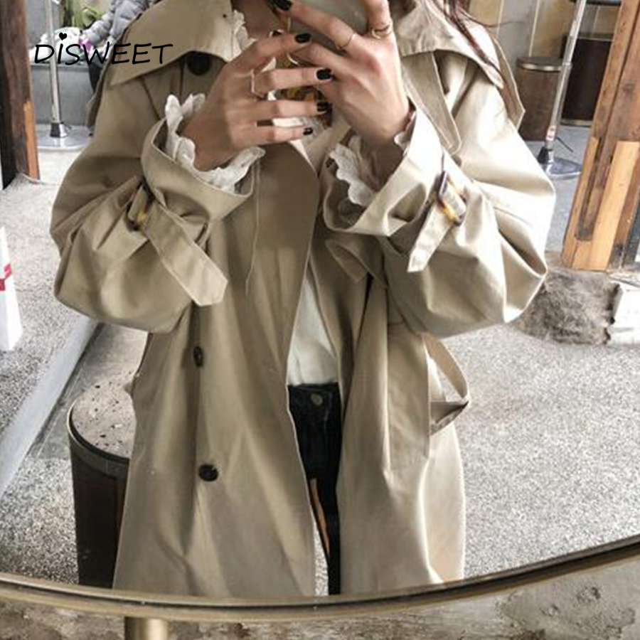 Korean windbreaker women Casual loose   trench   sashes 2019 New arrival spring long elegant coats ladies Overcoat Outerwear