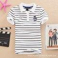 Stripe T Shirt Summer Camisa de la corto-manga Más la Ropa del Tamaño Camiseta de las mujeres Suelta Más El Tamaño de apertura de cama abajo a La Camisa