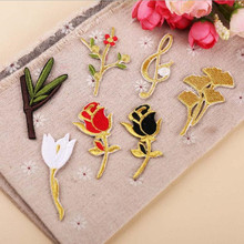 Flowers Plant Embroidery Patch for Clothing Iron on Embroidered Sew Fabric Badge Motif Garment DIY Apparel Applique Accessories round natural embroidery patch for clothing iron on embroidered fabric badge motif garment diy apparel applique accessories
