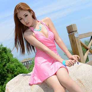 2014 new korean girl dress one piece swimsuit cover the belly was 2014 new korean girl dress one piece swimsuit cover the belly was thin swim spa voltagebd Images