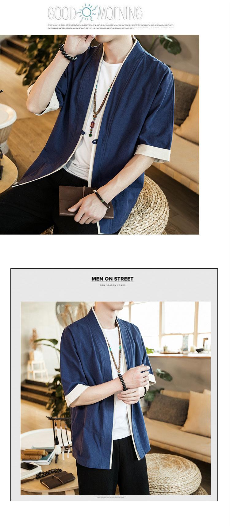 HTB1CSs.k5OYBuNjSsD4q6zSkFXav 2019 Men Cotton Linen Jacket China Style Kongfu Coat Male Loose Kimono Cardigan Overcoat Open Stitch Coat Mens Windbreaker 5XL