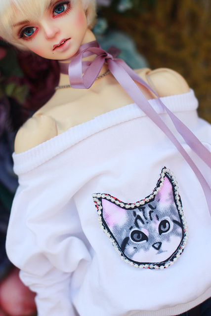 BJD doll shirt white cloth T shirt with Nail bead cat printing Hoodie for 1/3 1/4 BJD SD DD MSD doll clothes accessories