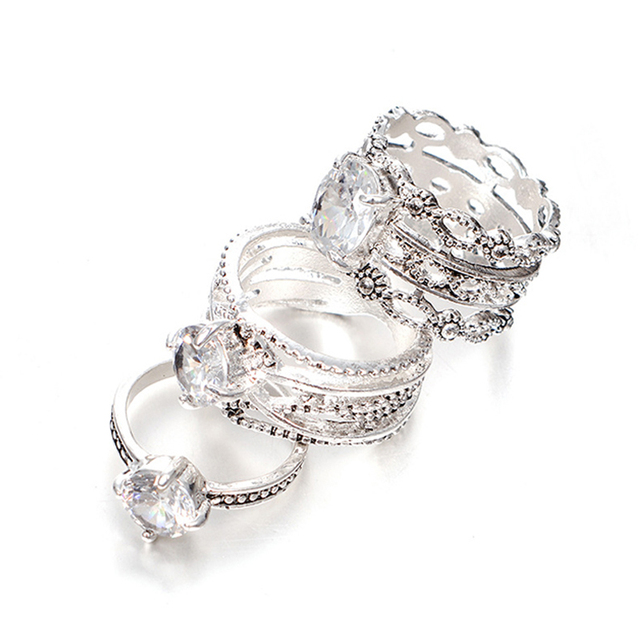 3Pcs/Lot Antique Silver Jewelry Vintage Ethnic Ring Sets Austrian Crytal Rhinestone Bague Ring Indian Wedding Party Accessories