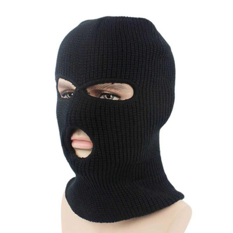 Yeni Tam yüz maskesi Üç 3 Delik Balaclava Örgü Şapka Kış Streç Kar Beanies Rüzgar Geçirmez Kayak Kapaklar Siyah Sıcak Yüz Maskeleri
