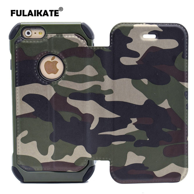 12ad1b2960 FULAIKATE Army Green Camouflage Flip Case for iPhone 7 Plus Holster  Anti-Knock Back Cover for iPhone 8 Plus Stand Cases