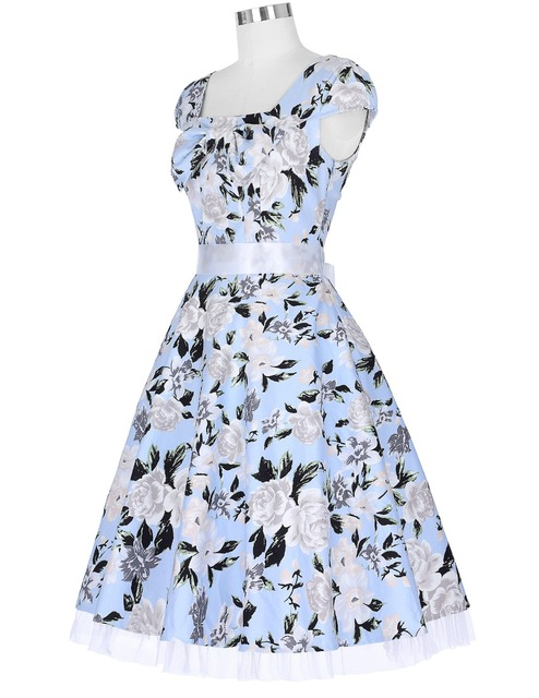 Sexy Style Women Short Sleeve Square Neck Cotton Floral Dress Party Picnic Dress Vintage 50s Dresses Woman Office Casual Party