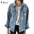 Mulheres casacos básicos outono e inverno as mulheres jaqueta jeans 2017 vintage longo manga solta calça jeans femininos casuais casaco meninas outwear