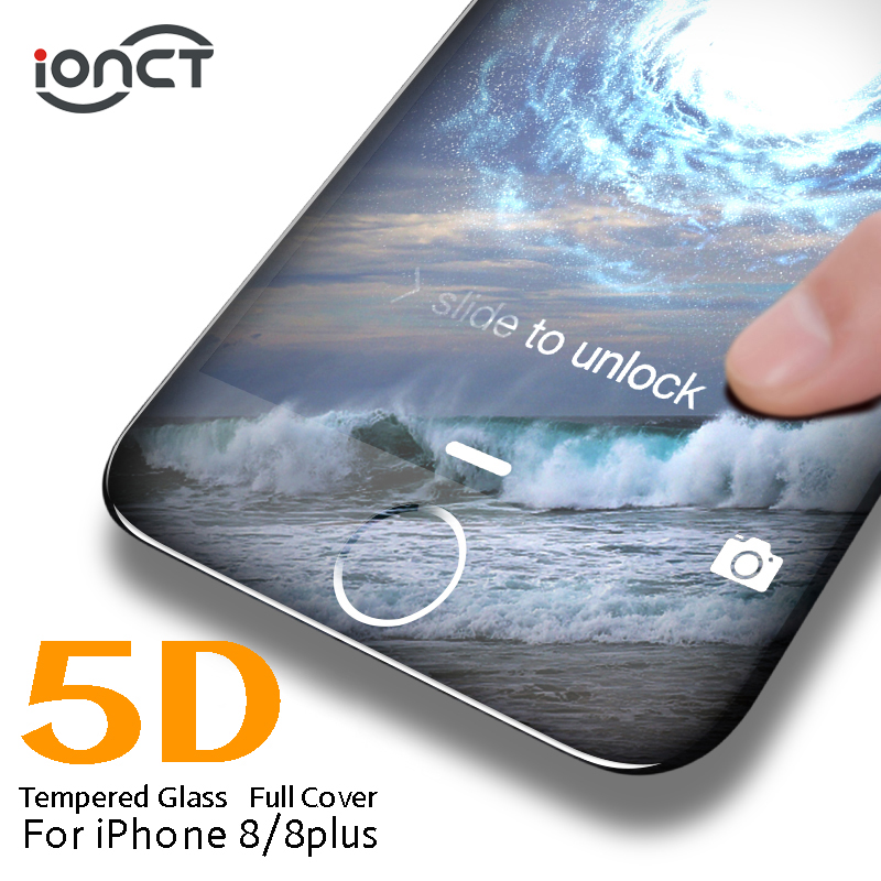 IONCT 5D Curved Edge Full Cover Tempered Glass For IPhone 8 Screen Protector 9H Hardness IPhone 8 Glass 8 Plus HD Film