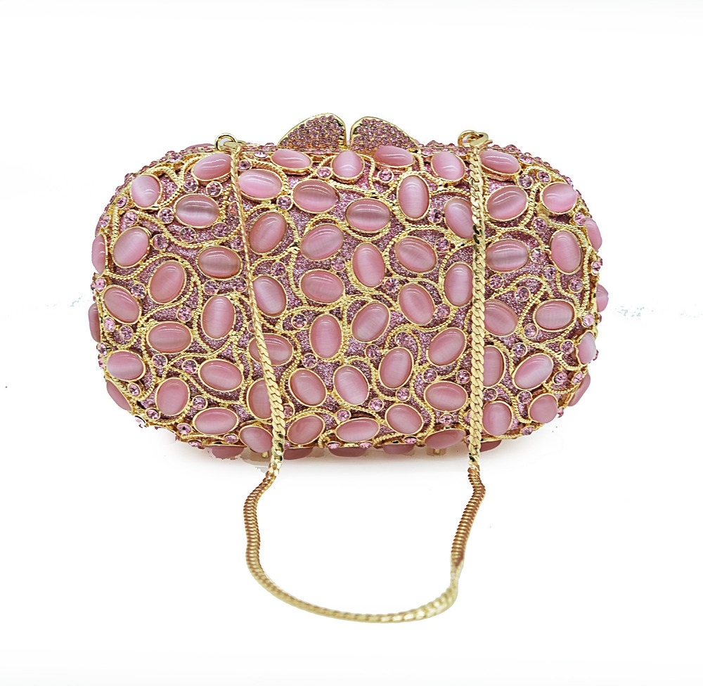 XIYUAN women pink natural stone Clutch Evening Luxury Party Bag Rhinestone Female pochette banquet Purse Packet wedding bags xiyuan brand gold party purse bags women luxury silver crystal evening bags female pochette diamond ladies wedding clutch bags