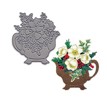 Teapot with Flowers Metal Cutting Dies DIY Paper Cards Stencils for Scrapbooking Making Craft Decoration New 2019