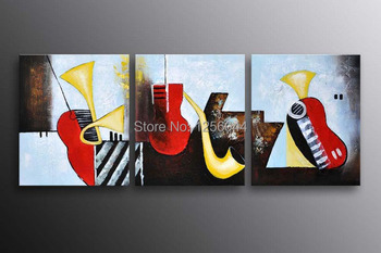 Free Shipping 3 piece big wall art 40x40cm Home Decor Modern Picture on Canvas Musical Instruments oil  Painting with framed