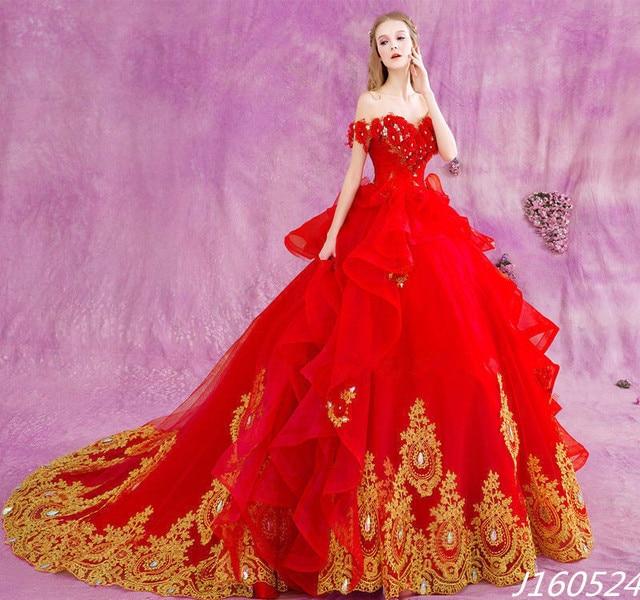 Vestido De Noiva Plus Grosse Ballkleid Brautkleid Rot Gold Applique
