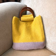 c8bd1e481 Confortável Malha De Lã Saco de Tecido Bolsas Moda Simples Bolsa Senhora Ombro  Sacola de Armazenamento Saco De Crochê Top-Handle.