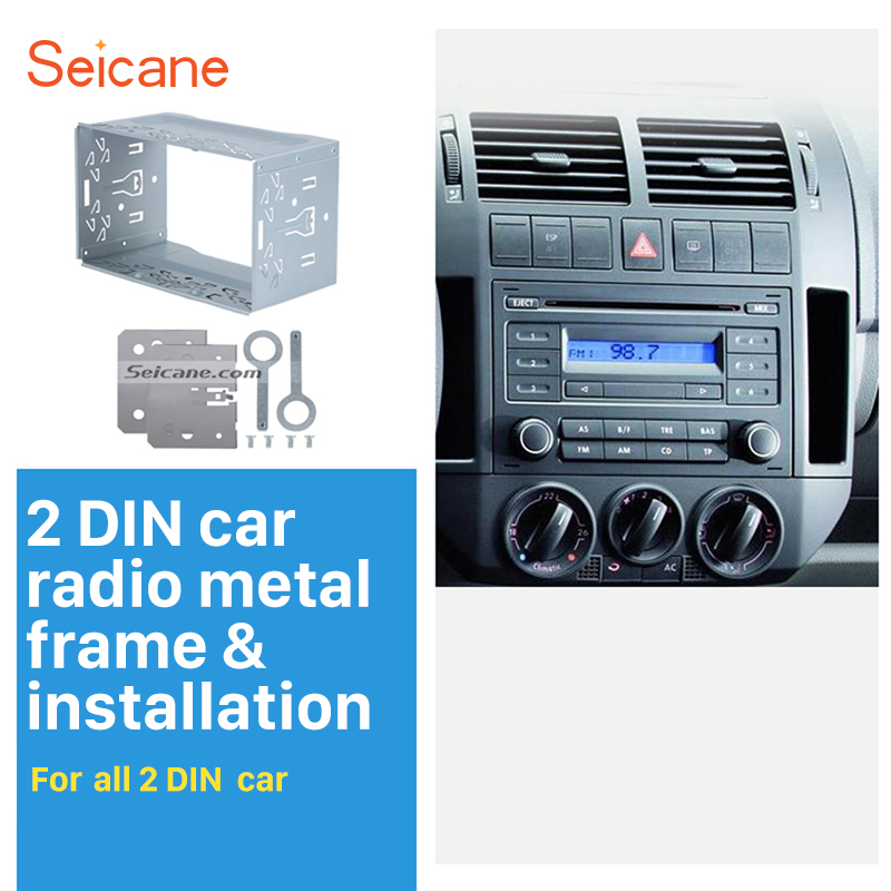 Seicane Metal 2Din Car Radio Frame Fascia Dash Panel for Universal DVD Player Stereo Installation Mount Trim kit Car Fitting Kit