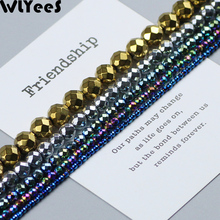 WLYeeS Faceted Round Hematite beads Plating Gold Silver Multi color Loose Beads 2 3 4 6 8 10mm Ball DIY Jewelry Bracelet Making
