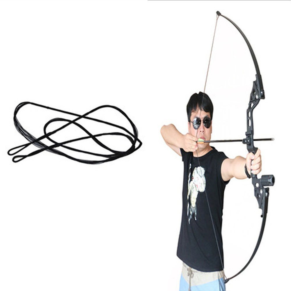 Arrow Rope Strings Various Size Black Outdoor Replacement Bowstring Tackle Recurve Bow Shooting 48-58 Inch Longbow image