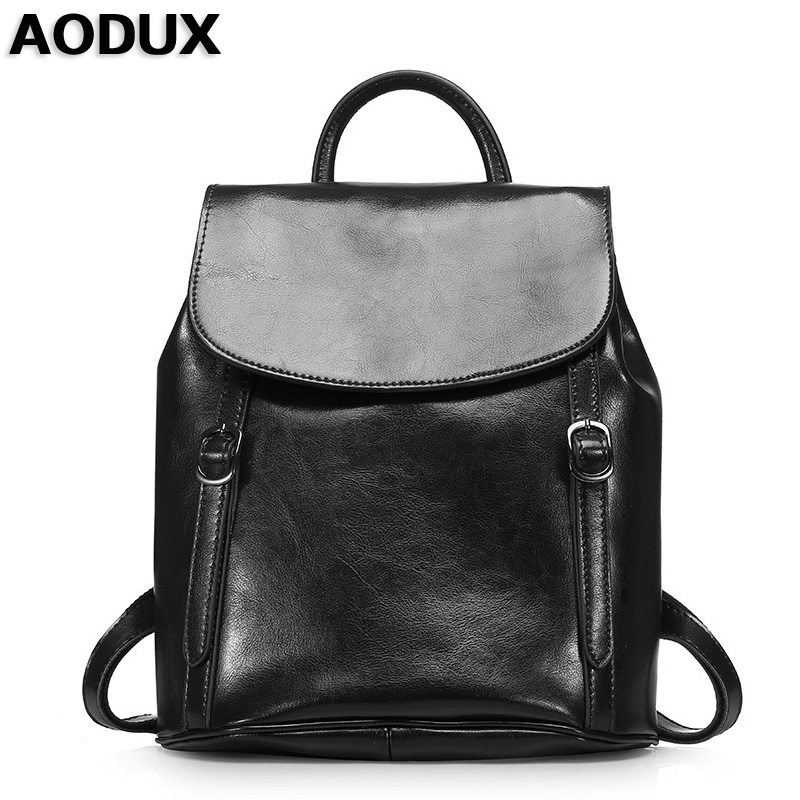 AODUX Backpack Bags Famous Brands Oil Wax Leather Women Backpacks Girl Female Second Layer Genuine Leather Backpack Cowhide Bag british style leather backpack school bag oil wax cowhide black women travel backpacks rucksack ladies double shoulder bags