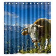 Lonely Cow Printed Waterproof Polyester Shower Curtain