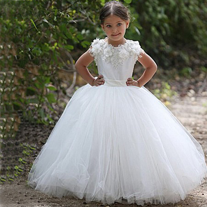 vestidos de daminha White Tulle Lace Appliques Ball Gown Long   Flower     Girl     Dresses   For Weddings 2015 Wedding Party   Dresses