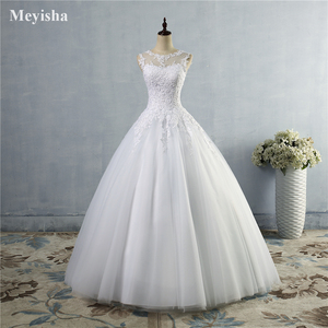 Image 2 - ZJ9036 2019 2020 lace White Ivory A Line Wedding Dresses for bride Dress gown Vintage plus size Customer made size 2 28W
