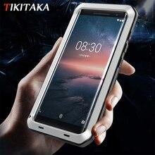 עבור נוקיה 8 חמסין עמיד הלם מקרה שריון עמיד למים מתכת אלומיניום מקרי טלפון עבור Nokia 8 חמסין מקרה כיסוי מסך זכוכית סרט