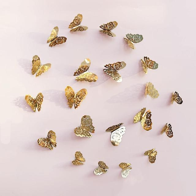 12 PCS Hollow-out Butterfly Wall Sticker