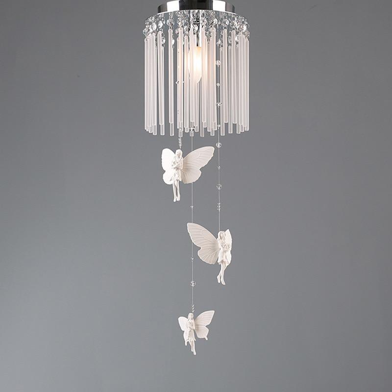 European Resin Bless Angel Dining Room Pendant Lamp Restaurant Bar Counter Glass Pendant Lamp Crystal Kitchen Room Pendant Lamps