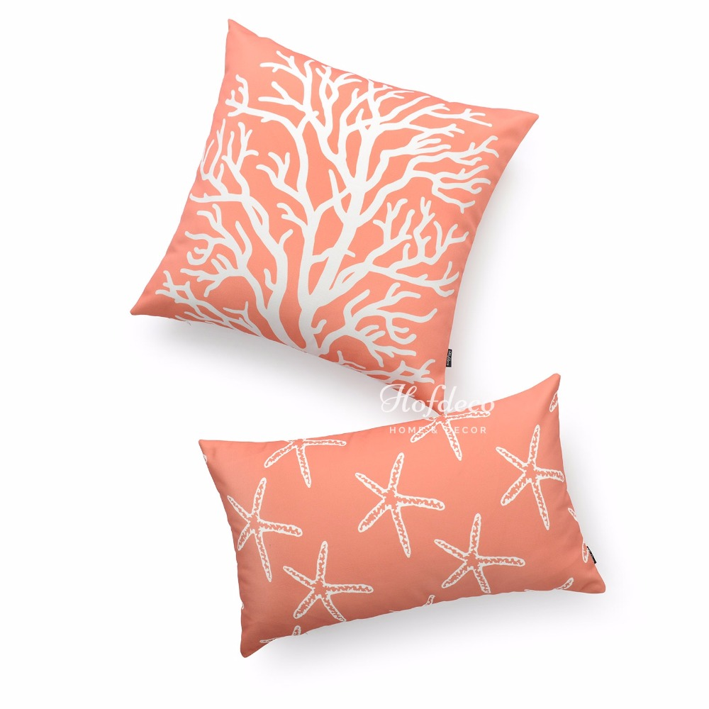 2pcs throw lumbar pillow cover set canvas coral starfish coastal beach car decorchina