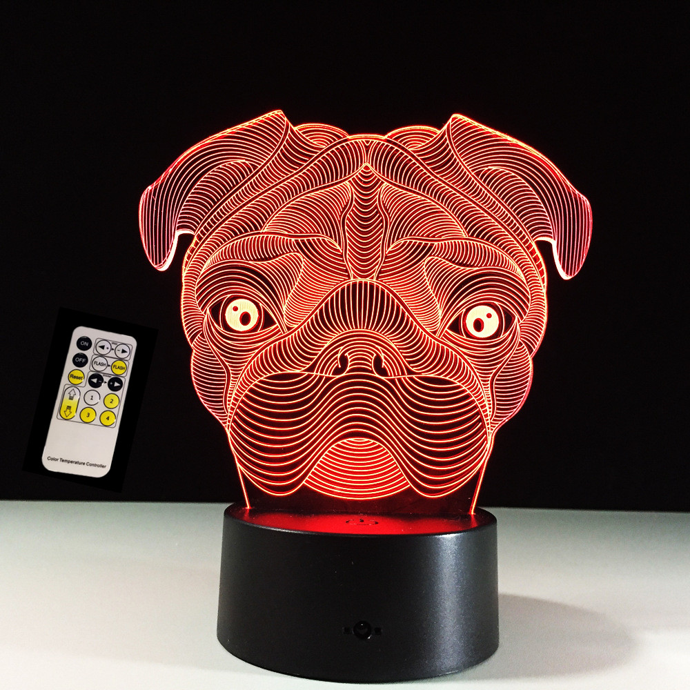 Remote Touch Control 3D LED Cute Pug Dog Night Light Baby Animal Table Lamps For Home Decor Christmas Gifts For kids Children