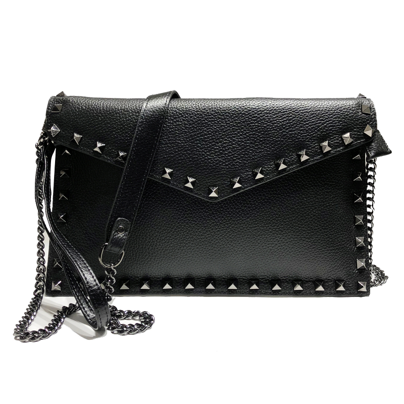 Day Clutches Women Genuine Leather Bag New New Rivet Cowhide Shoulder Bags Ladies Chain Crossbody Bag
