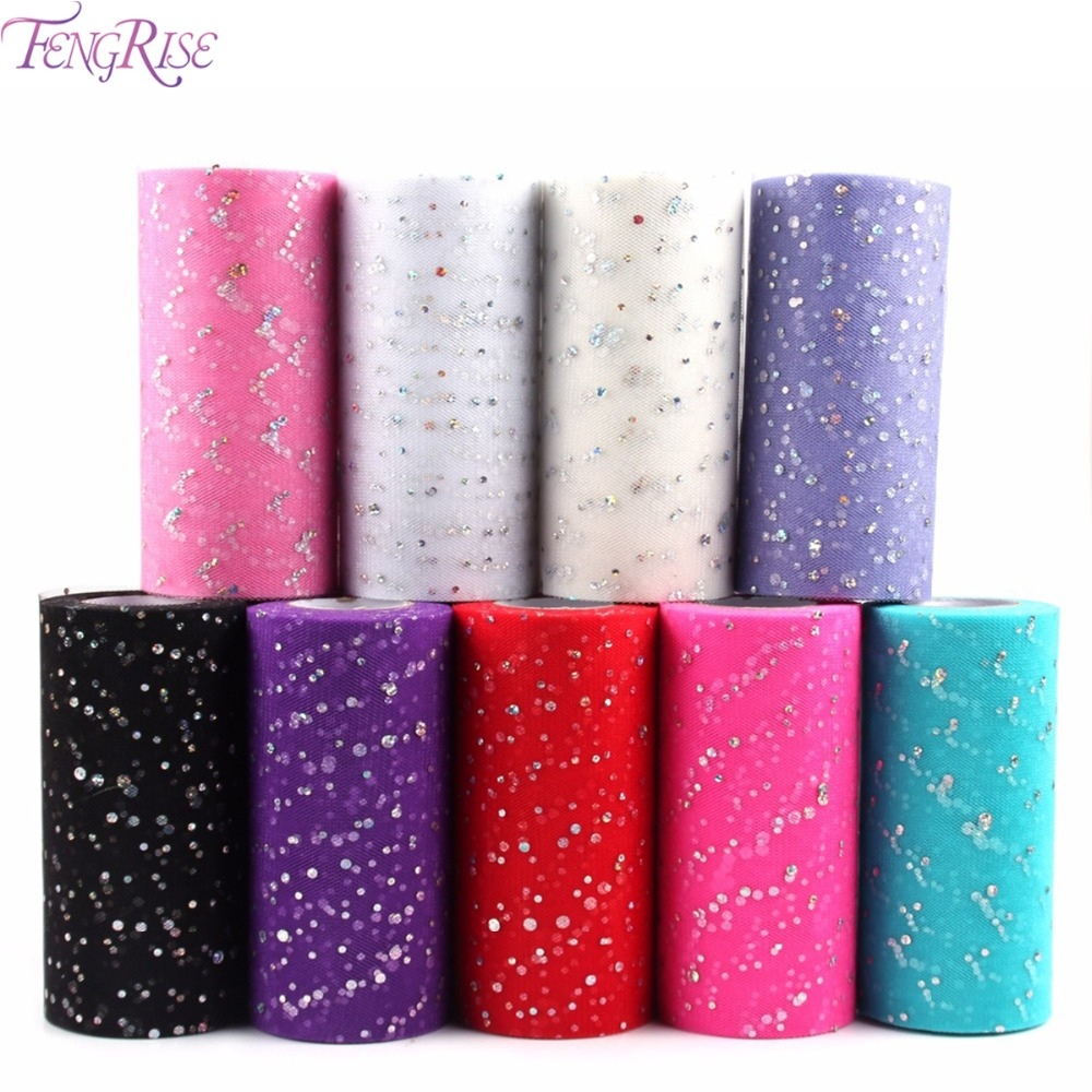 FENGRISE Glitter Sequin Tulle Roll 6 Inch 10 25 Yards Tutu мата Wedding Decoration Органза Tutu юбка Лазер DIY Craft Supplies