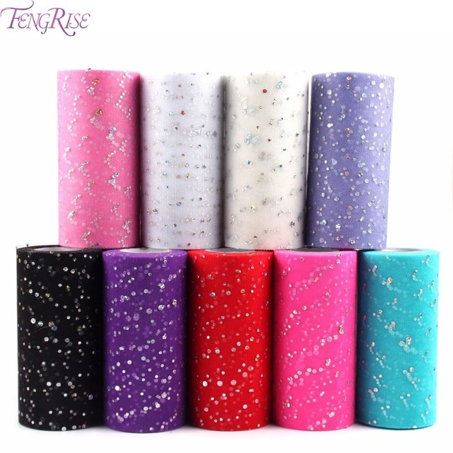 FENGRISE Glitter Sequin Tulle Roll 6 Inch 10 25 Yards Tutu Fabric Wedding Decoration Organza Tutu Skirt DIY Craft Supplies