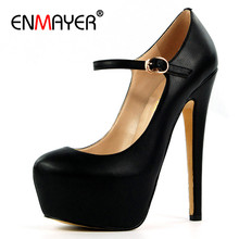 ENMAYER Mary Janes Shoes Woman High Heels Round Toe Pumps Plus Size 35-46 Chaussure Femme Platform Shoe Pumps Party Shoes doratasia 2018 large size 30 47 candy colors square heels mary janes women shoes woman pumps date girls pumps shoes