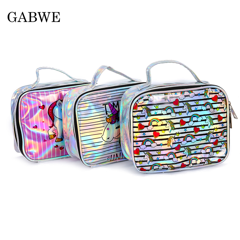 GABWE Fashion Bag Laser Handbag Women Makeup Bag Unicorn Cute Cosmetic Cases Holographic Beauty Toiletry Bag For Travel Neceser