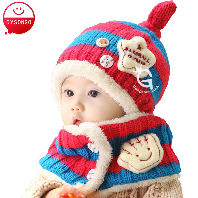 New 2016 Toddler Baby Winter Hats Cartoon Baby Boy Girl Striped Woolen Hats Newborn Infant Baby Beanies+Scarf Twinset