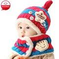Novo 2016 chapéus de inverno da criança do bebê dos desenhos animados do bebê boy girl listrado gorros de lã chapéus do bebê recém-nascido infantil + cachecol twinset
