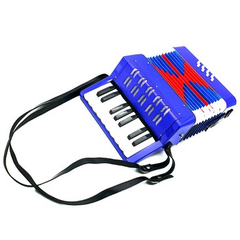 Hot! High Quality Mini 17-Key 8 Bass Accordion Educational Musical Instrument for Kids Blue