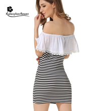 2016 Summer Dress New Fashion Women Striped Shoulder Dress Lace flounced Stripes Sexy Club Bodycon Party Sheath Dress Mini Dress